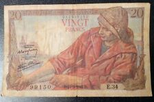 WW2 Banque De France (20)Vingt Francs 24-9-1942 #E34 99150 Fair Cond 082999150