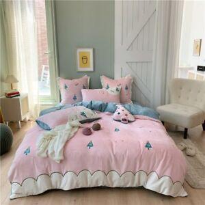 Velvet Cartoon Bedding Set Christmas Fleece Duvet Cover Bed Sheet Twin Queen New