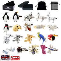 Men's Animal Cufflinks - Elephant Eagle Penguins Croc Cufflinks & Gift Box/Pouch