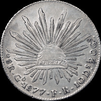 1877 MEXICO 8 REALES ~ Silver ~ Guanajuanto Mint ~ About Uncirculated Condition
