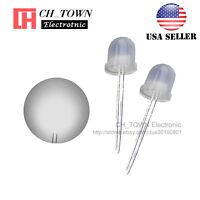 50pcs 8mm Diffused White Color White Light Round Top LED Emitting Diodes USA