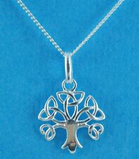 Ladies Sterling Silver Curb Chain Necklace with Celtic Tree of Life Pendant M2