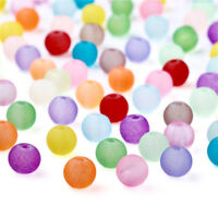 5bags DIY Transparent Frosted Glass Beads Round Mixed Color 4~4.5x4mm 100pcs/bag