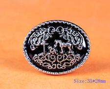 6PCS 35*28 MM Retro Silver Black Western Cowboy Prayer Cross Horse Oval Concho