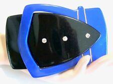 BOLD MOD BLUE VINTAGE BELT BUCKLE FRENCH LUCTIE & RHINESTONE HAIR CLIP ACCESSORY