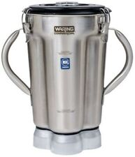 Waring CAC72 1 gal Stainless Blender Container for CB15 w 2 Handles & Clear Lid