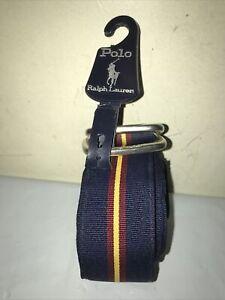 Polo Ralph Lauren Blue With Yellow Stripe Stretch Cotton Belt Size XL