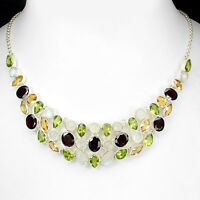 Sterling Silver Necklace Moonstone Red Garnet Green Peridot, Citrine 18 Inch