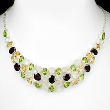 Necklace Moonstone Red Garnet Green Peridot, Citrine Sterling Silver 925 18 Inch