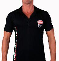 T-shirt DUCATI CORSE Moto Collier  Polo Feuille De Stickers Blancs Logo Homme