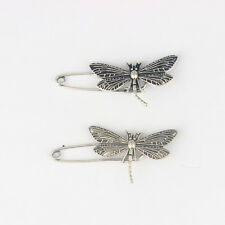 Kilt Scarf Brooch Safety Pin 50*9mm 5Pcs Antique Silver Dragonfly Strong Metal