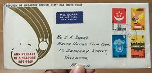 Singapore FDC cover 1969 150 Anniv Founding Stamp Set Airmail to Malta