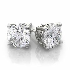 2CT 14k White Gold Fn Round Lab Created Diamond Earrings Basket Solitaire Studs