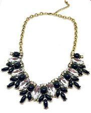 Neues AngebotSchwarz Perlen & Kristall Poliertes Gold Elegant Statement Halskette