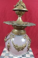 Antique Ornate Brass Filigree Ceiling Globe Light Fixture