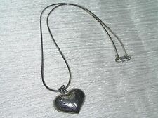 Estate 925 Marked Silver Box Herringbone Chain with Etched Puffy Heart Pendant