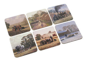 NEW Set of 6 Country Life Scene Farm Farming Cork Backed Square Drinks Coasters