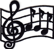 MUSIC SCROLL Iron On Patch Cleft Single Music Note Rock N'Roll