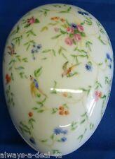 Georges Boyer Limoges France Porcelain Colorful Flowers & Birds Egg/Trinket Box