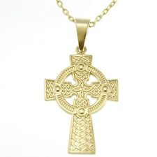 "Solid 9ct Gold Celtic Cross with 18"" Gold Chain & Gift Box"