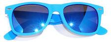 OWL MATTE FRAME MIRROR LENS CLASSIC 80s VINTAGE RETRO SUNGLASSES L BLUE