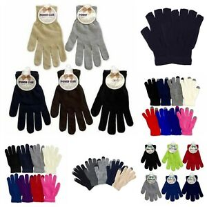 Plain Knit Magic Glove Fingerless Winter Sports Warm Touch Screen Men Women Kid