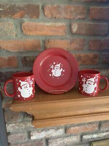 Waechtersbach Christmas Bears - 2 Red Coffee Mugs With Plate L@@K