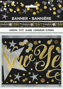 Black & Gold Sparkle New Year Party Banner Decoration Classy New Year Bunting