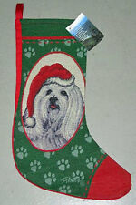 Maltese Tapestry Christmas Stocking ~ Linda Picken