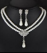 Bridal wedding bridesmaid party anniversary double-pearl necklace and earrings s