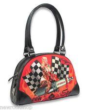 Liquor Brand Vegan Queen of Speed Bowler Bag Black Handbag Pin Up Flags Tattoo