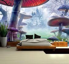 Mural Wallpaper Wonderland Mushroom Wall Photo Art Sticker 82.7''X55.5'' BZ940