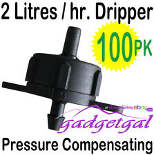 100 x Pressure Compensating Drippers (2 LPH flow) Irrigation Drip Dripper