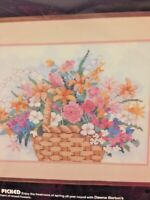 """Cross Stitch Dimensions Kit Stamped Pattern Basket Of Flowers """"FRESHLY PICKED"""""""