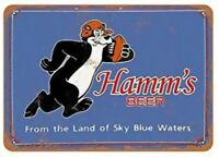 HAMMS BEER BEAR TIN SIGN FOOTBALL SPORTS BAR POSTER SKY BLUE WATERS REFRESHING