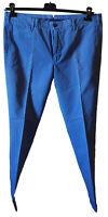 Pantalone Uomo Casual Elegante  Leggero Cotone GTA Foulard Azzurro Tag 56 Slim