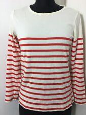 kettlewell colours Long Sleeve Top Stripe Red Cream Winter Womens Medium Cotton