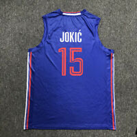 2019 China Nikola Jokic #15 Serbia Basketball Jerseys White Blue Top Sublimation