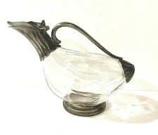 RARE VINTAGE DESIGN - DUCK GOOSE GLASS & SILVER PLATED TRIMMED DECANTER PITCHER