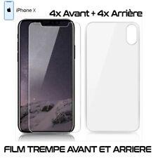 Lot 4 - Film Protection Verre Trempe 4 Avant et 4 Arrière Pour iPhone X