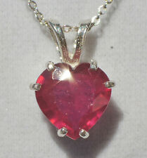 "3.48ct Red MADAGASCAR RUBY .925 Sterling Silver 10mm Heart Pendant 18"" Necklace"