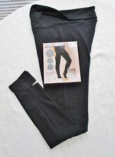 Yoga Leggings L 44 46 Fersenloch Steg Schwarz Baumw.Stretch Umschlag-Dehnbund