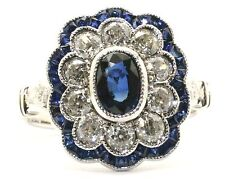 18ct. White Gold Art Deco Style Sapphire and Old Cut Diamond Cluster Ring.