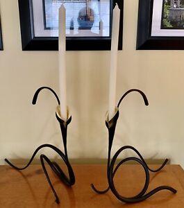 2 Mid Century Original Brubaker Iron Sculpture W/ Brass Calla Lilly, Candle