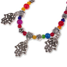Tibetan Silver colorful Fatima Hamsa Hand Beaded Charm Chain Bracelet VINTAGE