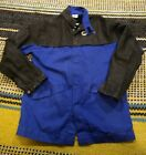 Welding Jacket: Men's, Indura with Pigskin Sleeves ( 9 oz ), Blue, Snaps Medium