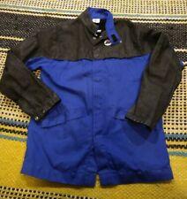 New Listingwelding Jacket Mens Indura With Pigskin Sleeves 9 Oz Blue Snaps Medium