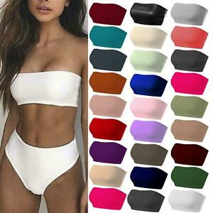 New Womens Vest Bra Crop Tops Boob Tube Strapless Sexy Bandeau Causal Stretchy