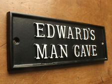 PERSONALISED 'MAN CAVE' DOOR SIGN - CAST METAL DAD MEN MAN GIFT CUSTOM SIGN
