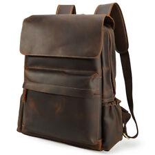 """Vintage Men Leather Backpack 16"""" Laptop School Bag Hiking Travel Camping Satchel"""